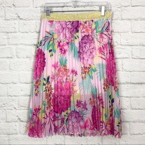 Candies Pleated Bright Floral Metallic Midi Skirt